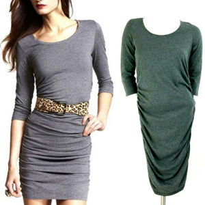 Express Gray Ruched Waist 3/4 Sleeve Bodycon Dress